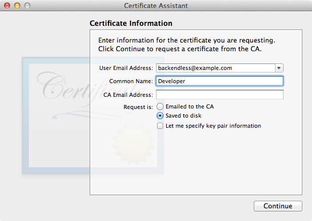 CertificateRequestData - iOS Push Notifications with Backendless