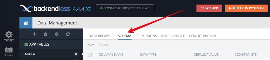 schema tab data - Feature 8: Create data table schema in Backendless console