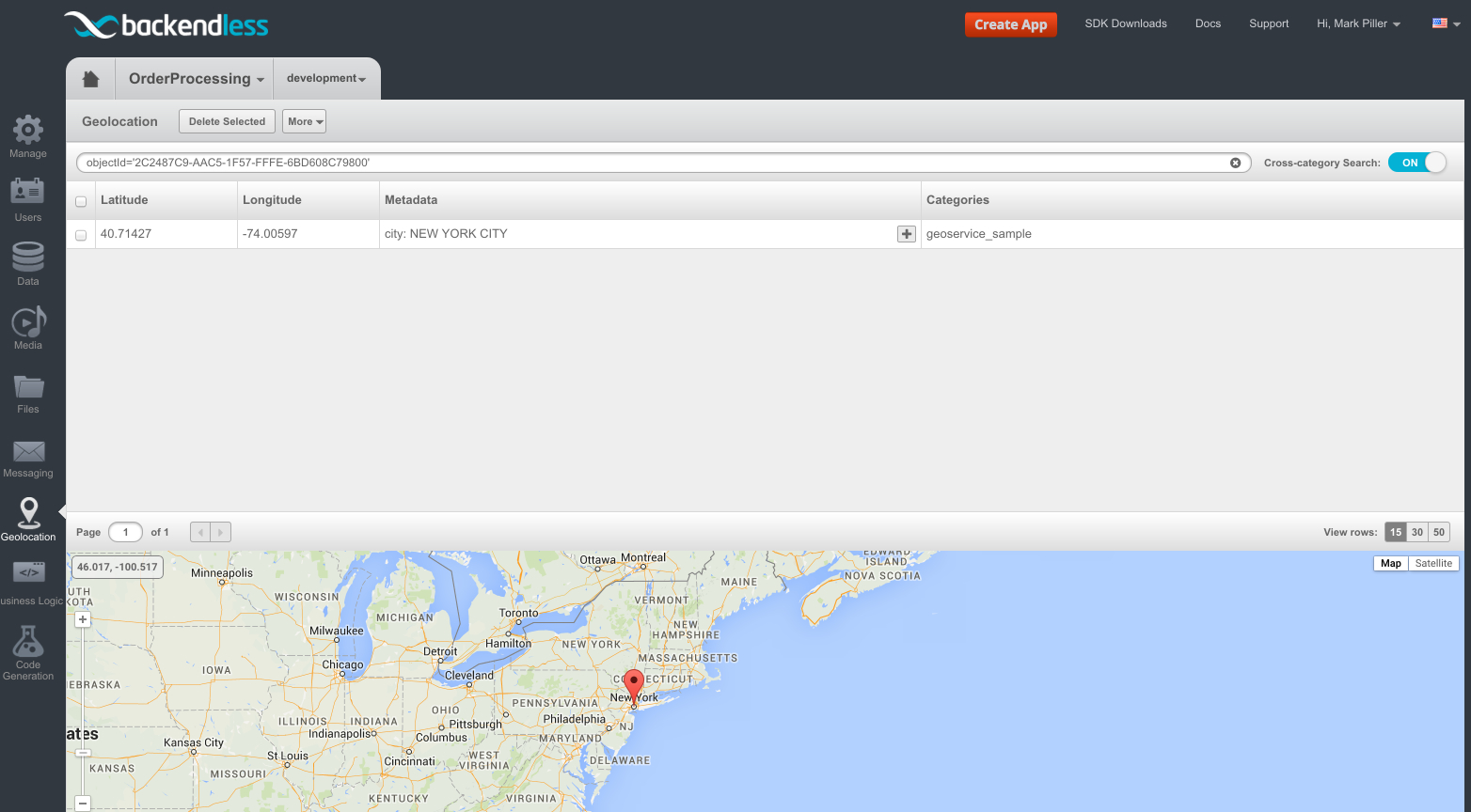 geopoint in geolocation - Feature 101: Loading data objects with related geopoints using API