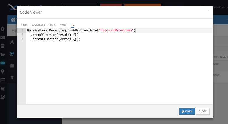 Example: Notification from a Push Template - Backendless SDK for