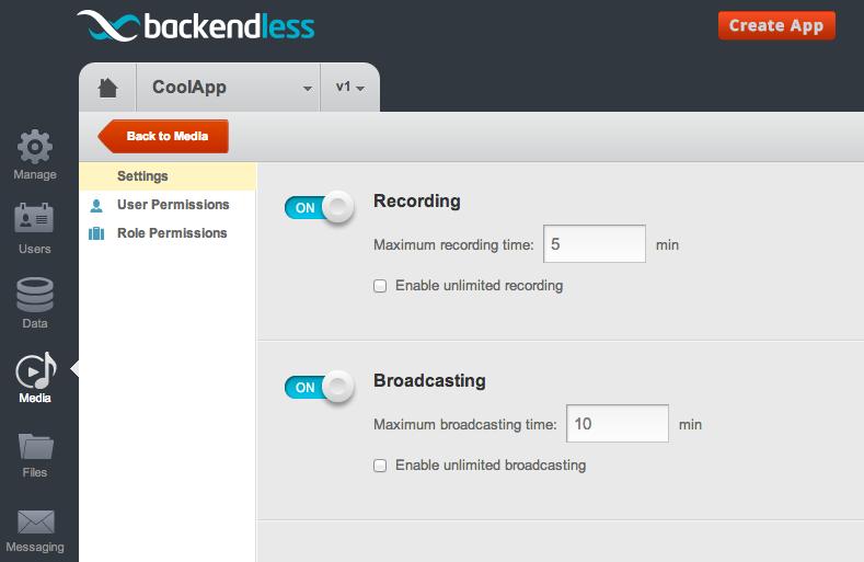 media settings - Backendless Media Service