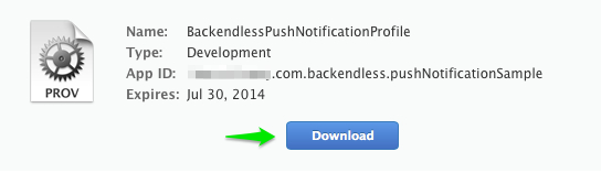 download profile - iOS Push Notifications with Backendless