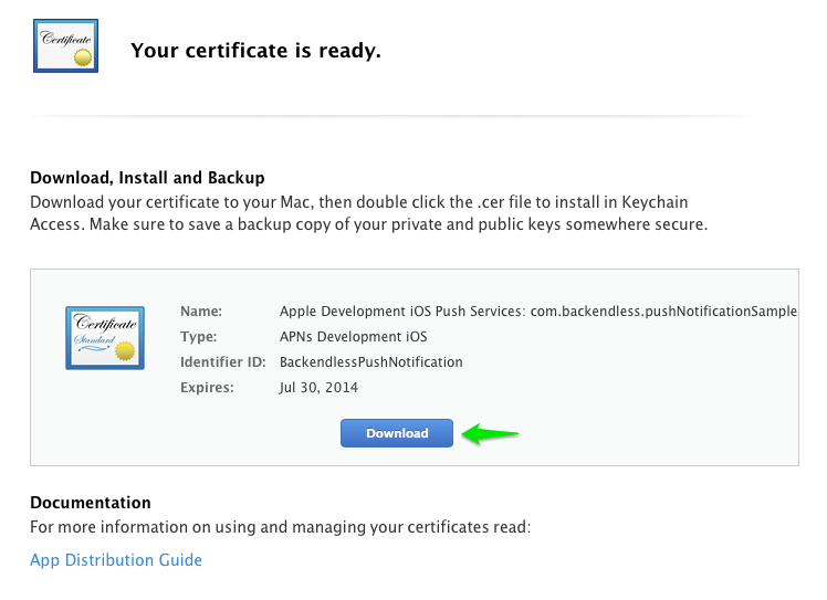 download push cert - iOS Push Notifications with Backendless