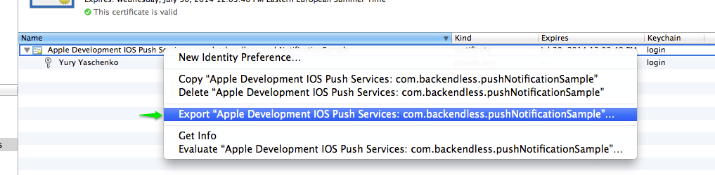 export push cert - iOS Push Notifications with Backendless