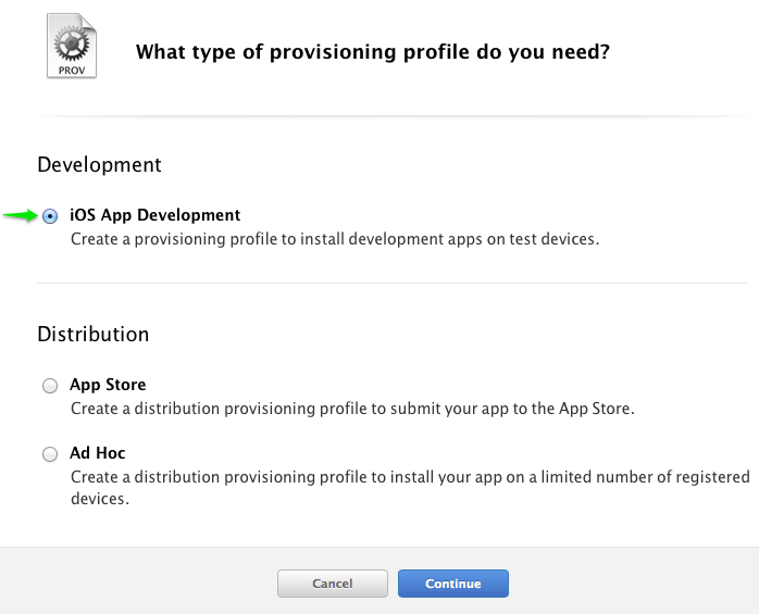 ios app dev profile type - iOS Push Notifications with Backendless