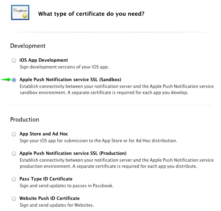 push cert sandbox - iOS Push Notifications with Backendless