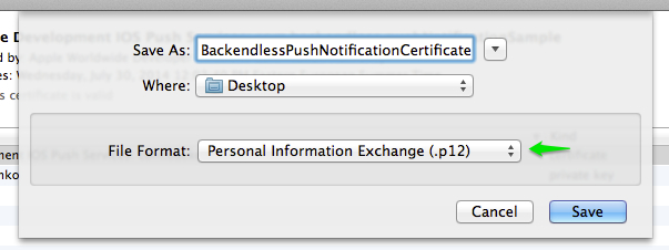 save cert p12 format - iOS Push Notifications with Backendless
