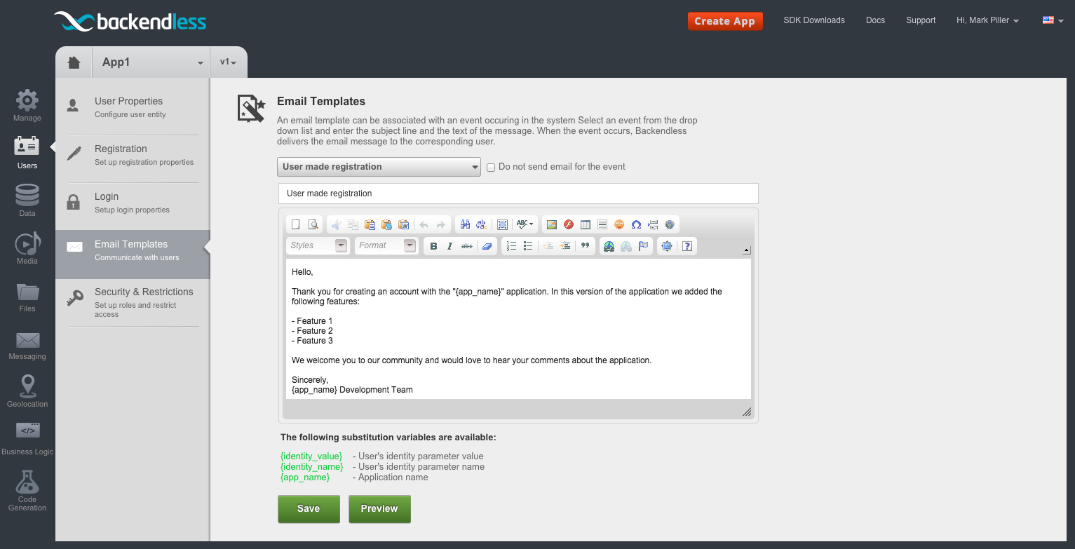 customizing registration email - Feature 3: Delivering a customizable welcome email when a user registers for your app