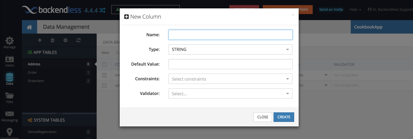 new column - Feature 8: Create data table schema in Backendless console