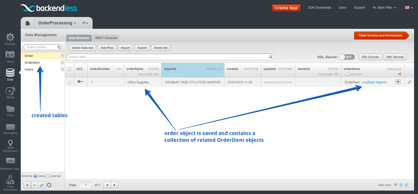 order table - Feature 1: Saving Objects with Relations and Dynamic Schema Creation
