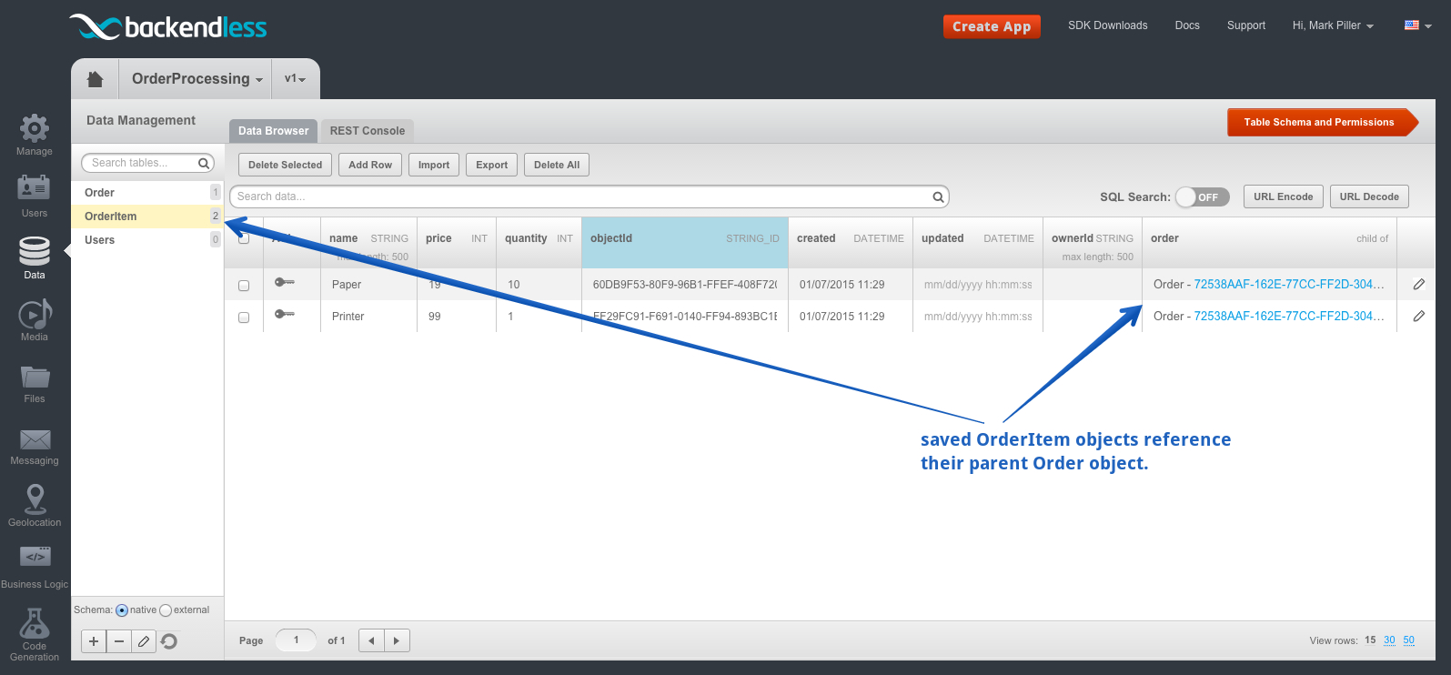 orderitem table - Feature 1: Saving Objects with Relations and Dynamic Schema Creation