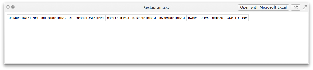 restaurant csv contents - Feature 13: Create data tables, columns and relations by importing CSV files