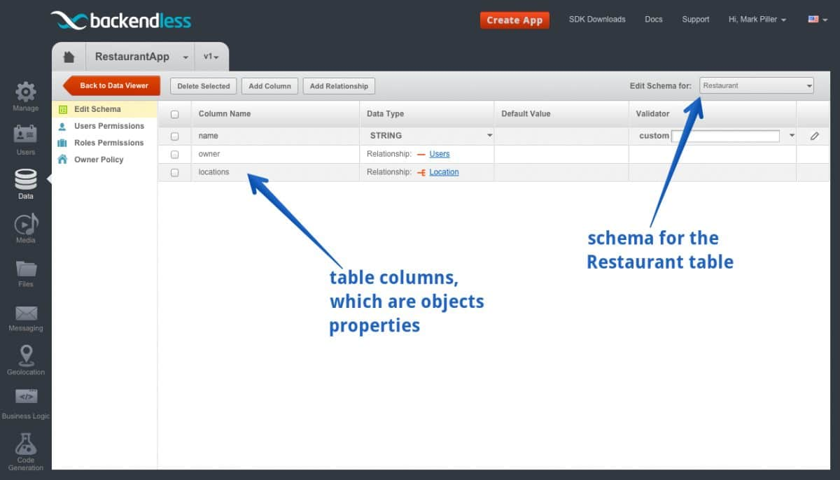 restaurant schema - Feature 12: Creating relationships between objects using developer console