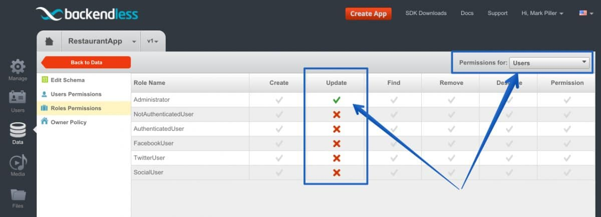 role permissions to update users - Feature 45: Updating user account using User Service API