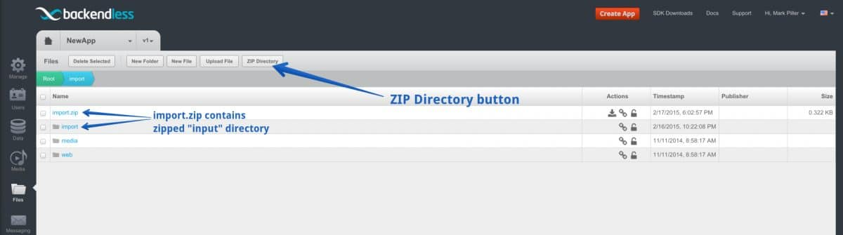 zip directory button - Feature 41: Compress any directory in your Backendless file storage using console