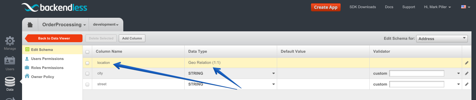 geo point column saved - Feature 99: Declaring a relationship between a data table and geopoint(s)