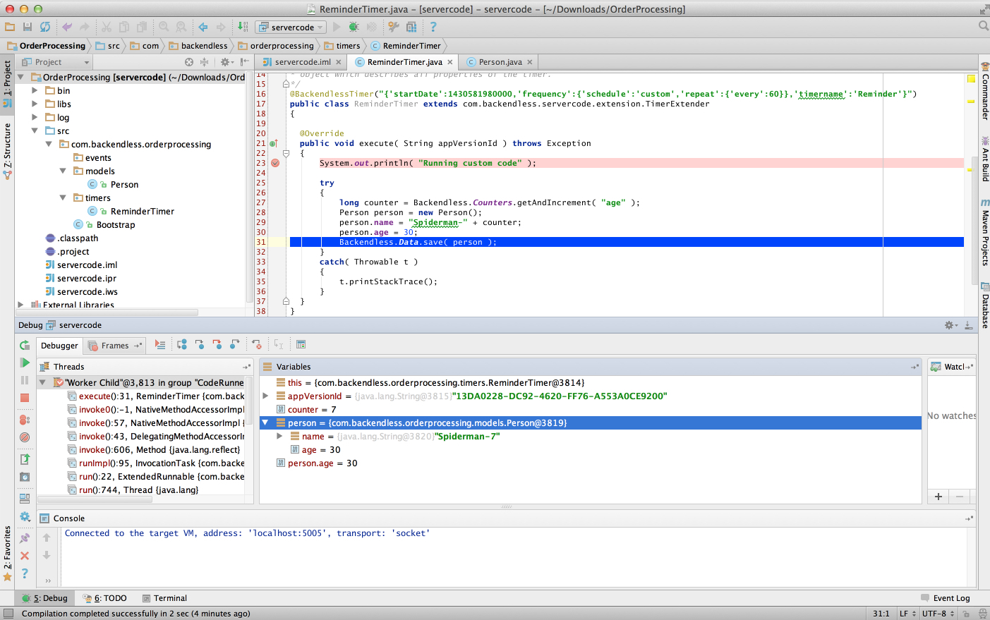 coderrunner debugger1 - Feature 112: Local debugging of Backendless Timers on a developer machine