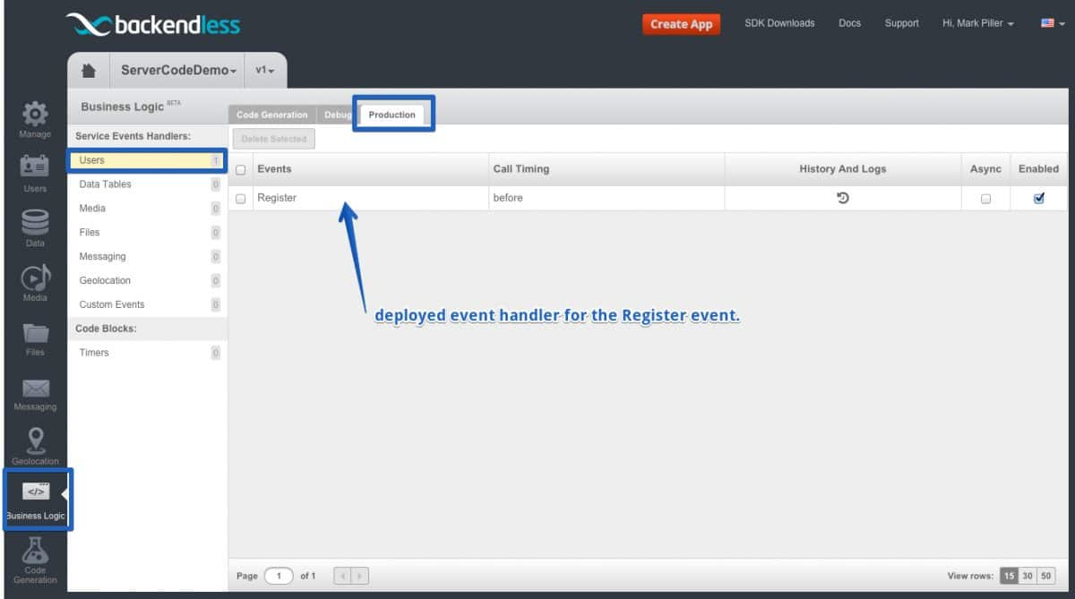deployed event handler - Feature 118: Deploying custom business logic (event handlers) to Backendless servers