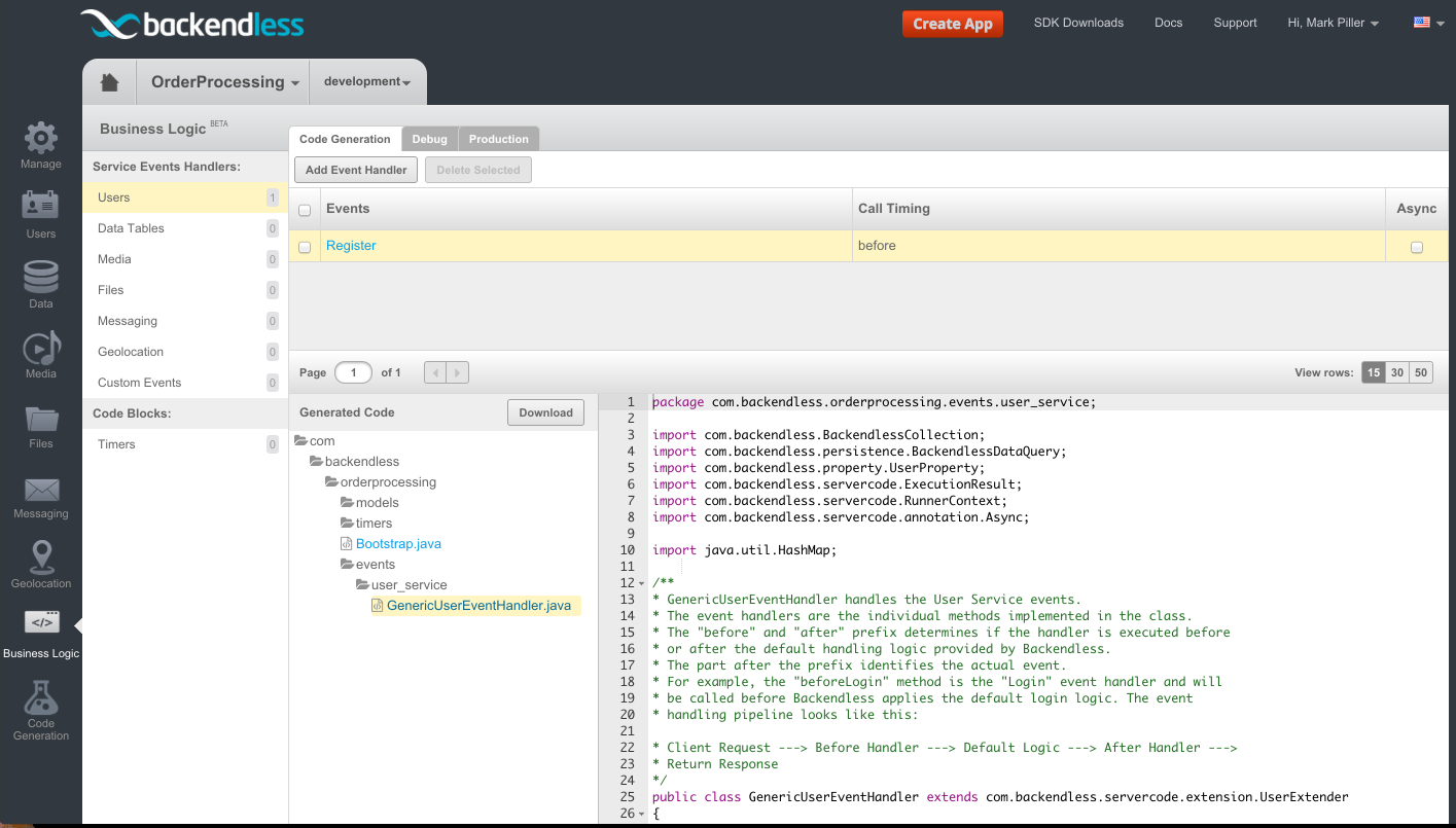 event handler generated code - Feature 115: Creating Server-Side Business Logic for User Service API with Console
