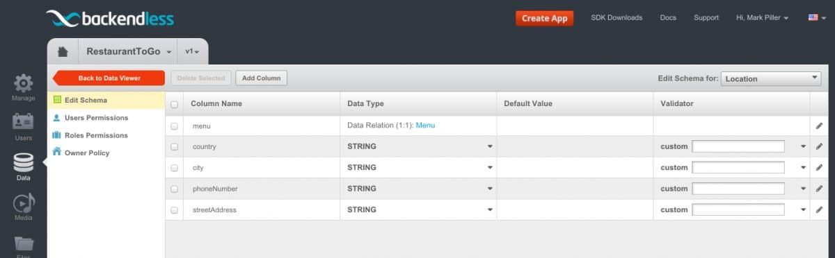 location table - Feature 117: Creating/saving new data objects using REST Console
