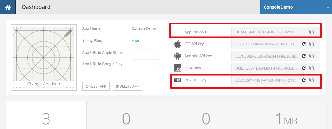 app id rest key dashboard - Quick Start Guide for REST API