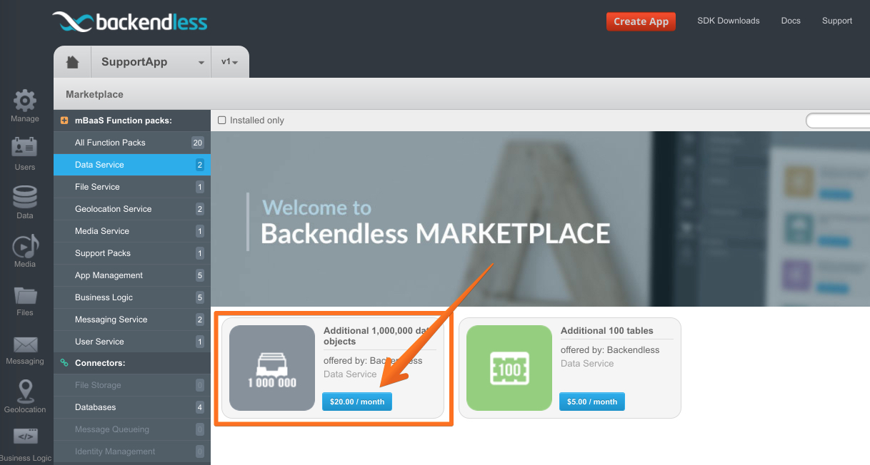 marketplace product - Backendless Marketplace