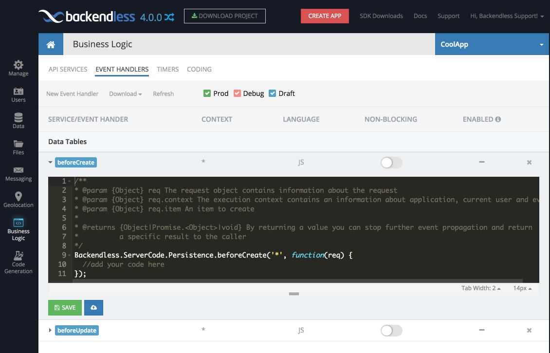 event handler v4 - Cloud Code