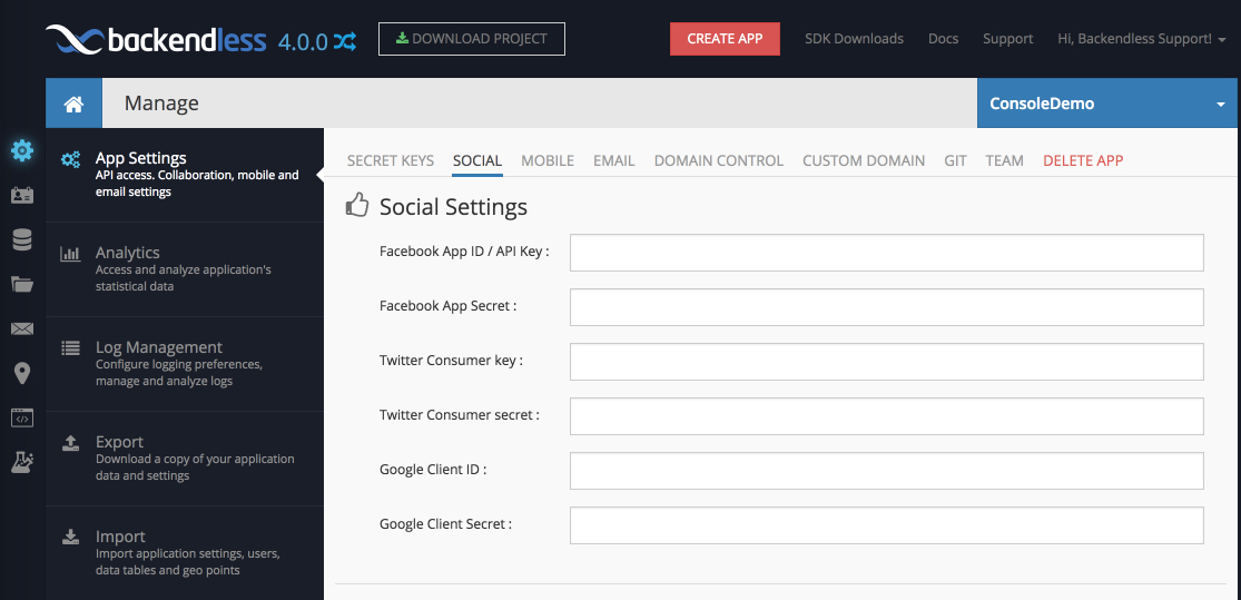 social settings v4 - Social Login Support