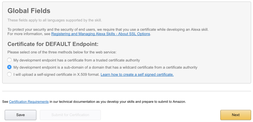 alexa servlerless endpoint certificate - Developing Alexa skill without writing any code - Part1 (Codeless in Backendless mBaaS)