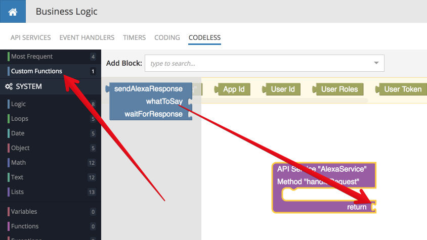 backendless api service step7 - Developing Alexa skill without writing any code - Part1 (Codeless in Backendless mBaaS)