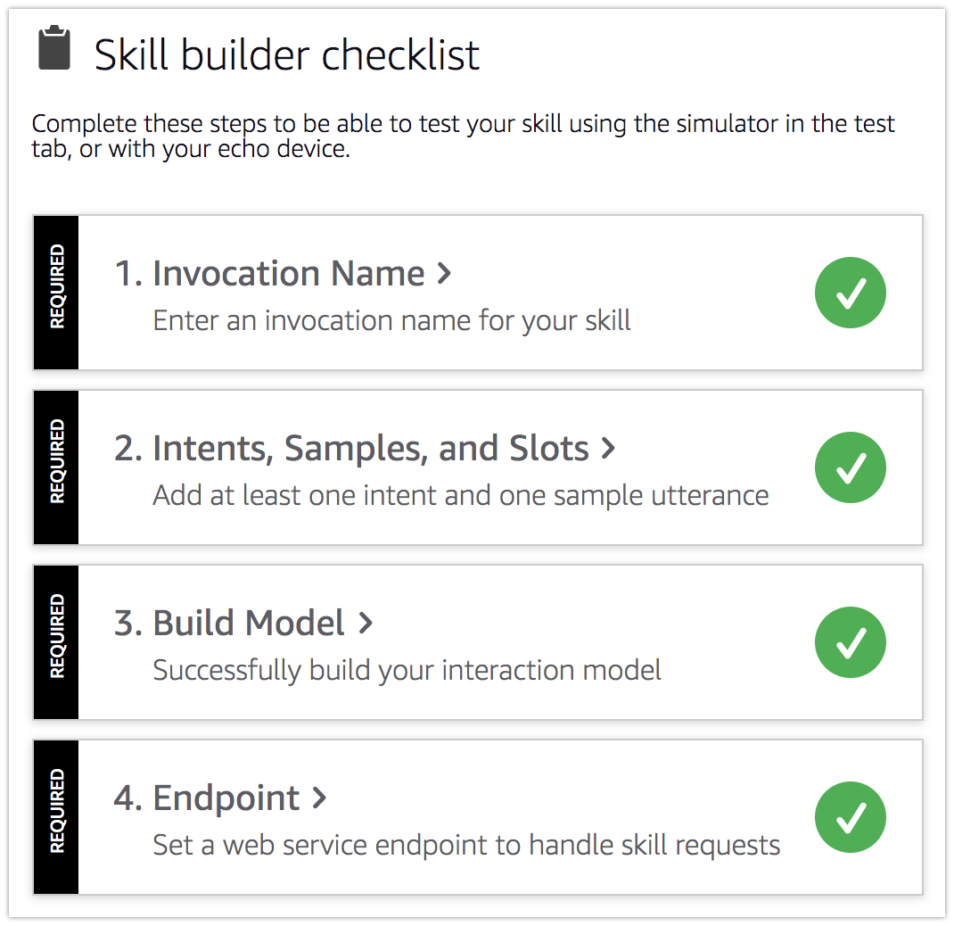 skill builder checklist complete - Developing Alexa skill without writing any code - Part1 (Codeless in Backendless mBaaS)