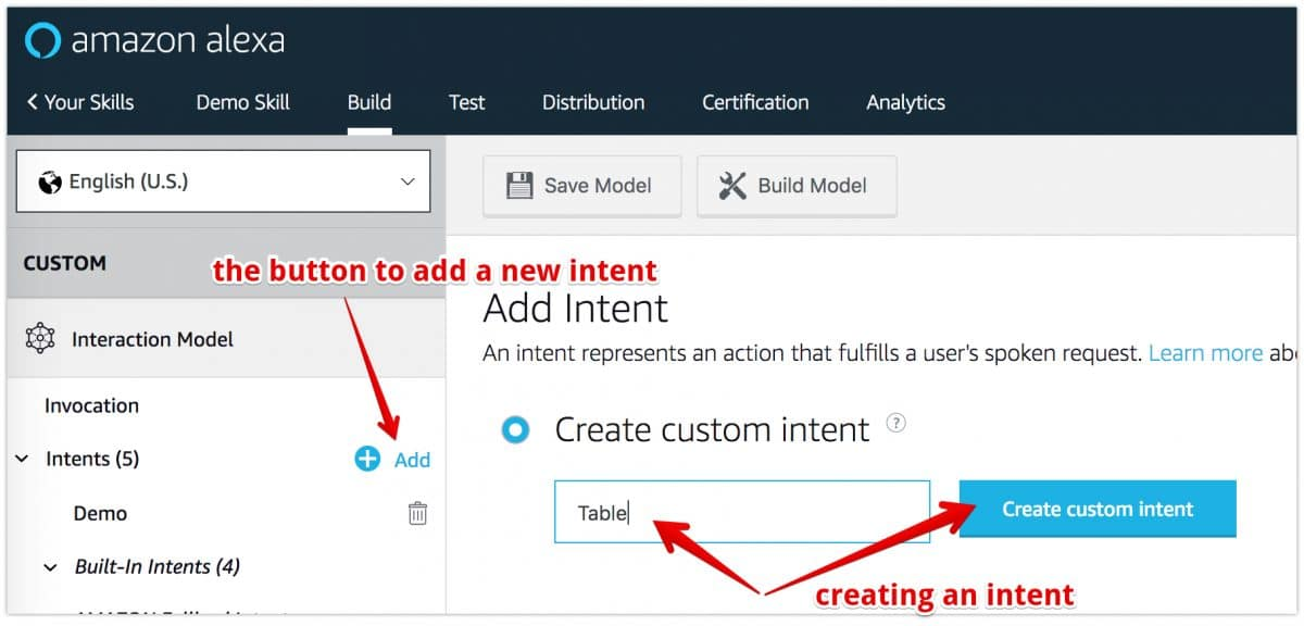 creating new custom intent - Developing an Alexa skill without writing any code – Part 2 (Intents and Slots)