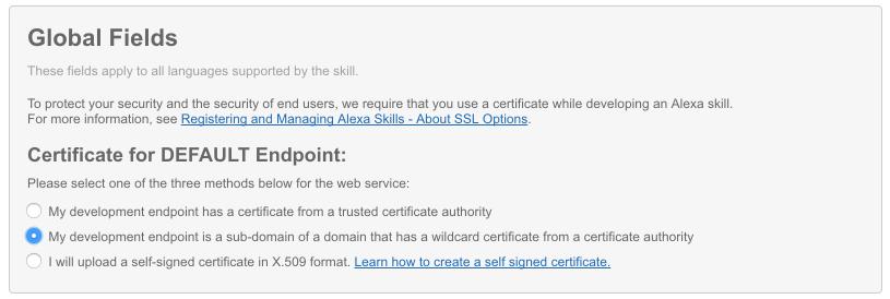 alexa skill ssl cert - Developing a custom Alexa skill to control an IoT device