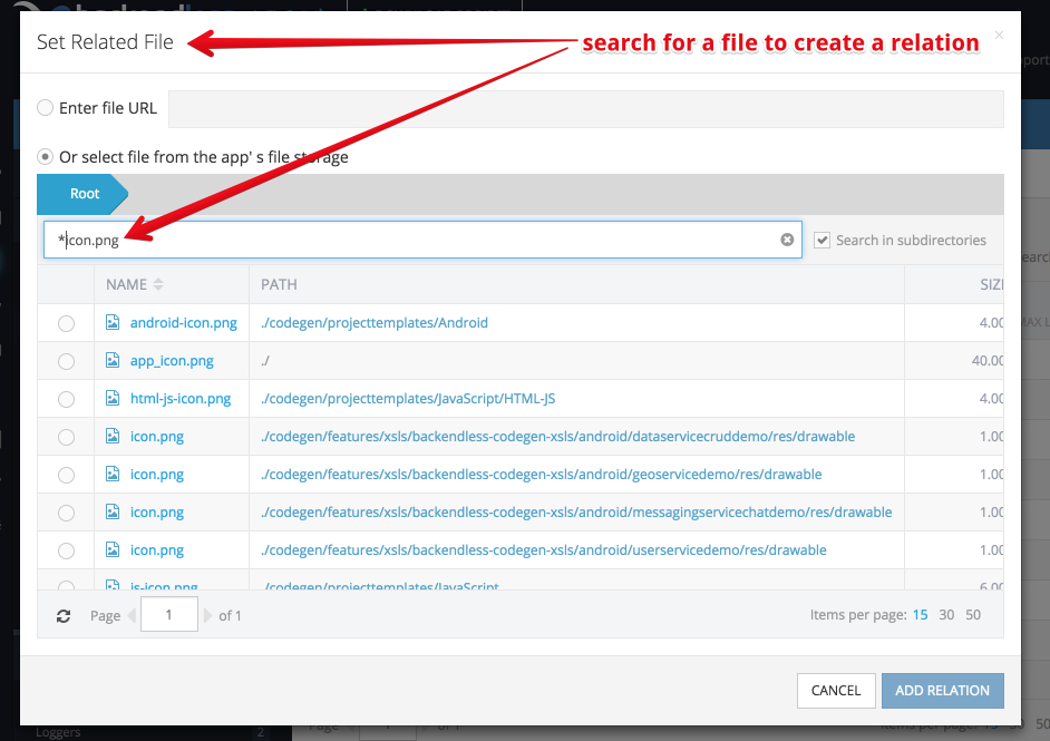 create file ref popup - File Search in Backendless Console