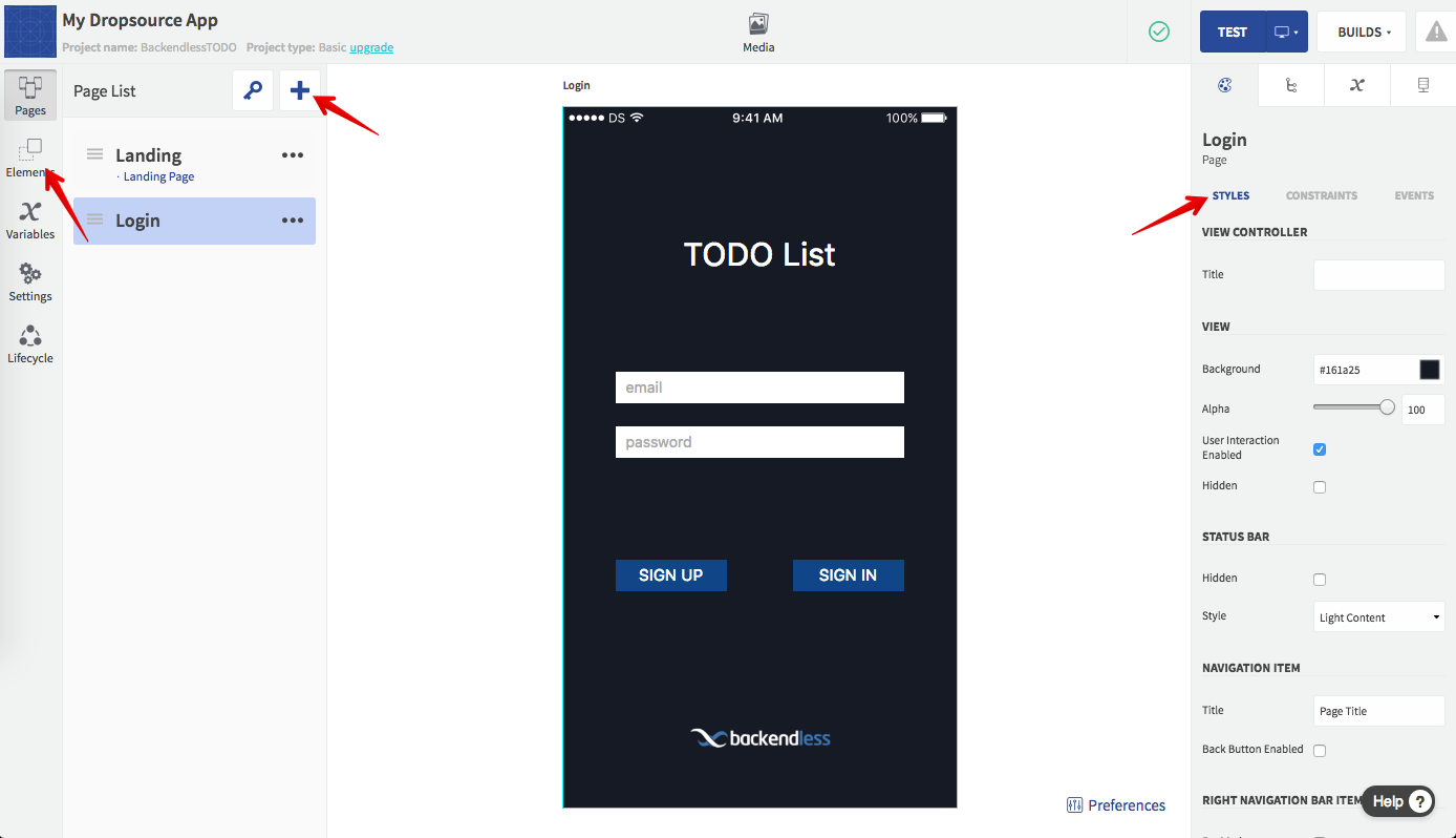 login page - Developing a mobile application without any coding using Backendless and Dropsource (Part2)
