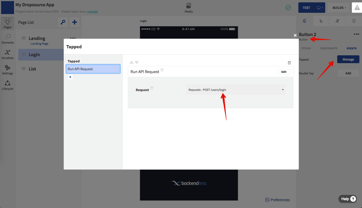 Add API Request Action to SIGN IN Button