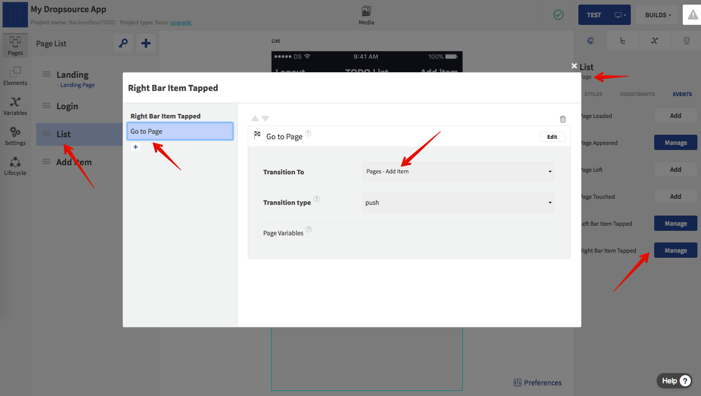 Add Action for Switching to Add Item Page
