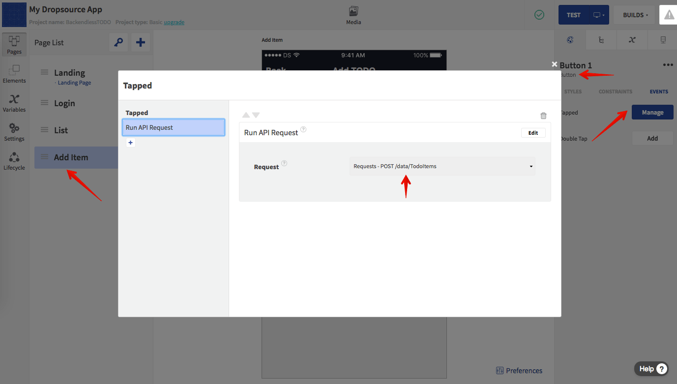 Add API Request Action to SAVE Button