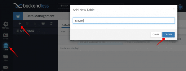 Add new table in Backendless Database.