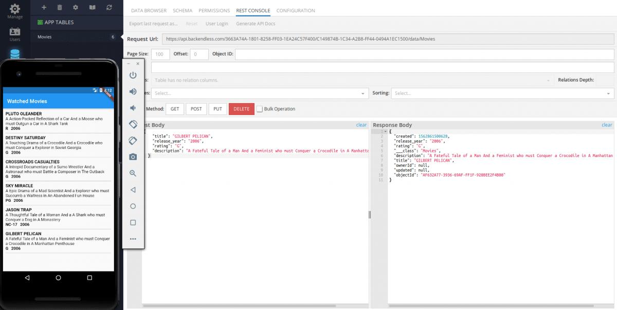 Test adding data to a Flutter app via Backendless REST Console.