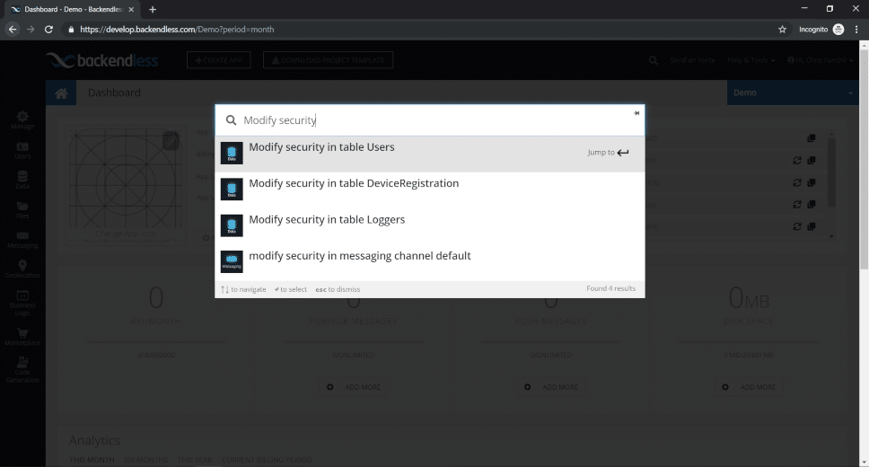 Navigator search Modify Security