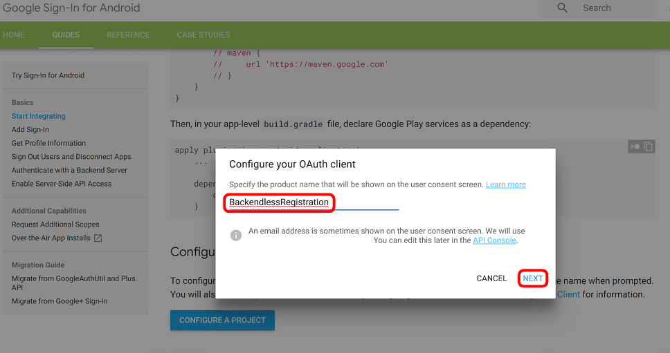 Configure OAuth Client in Google API Console