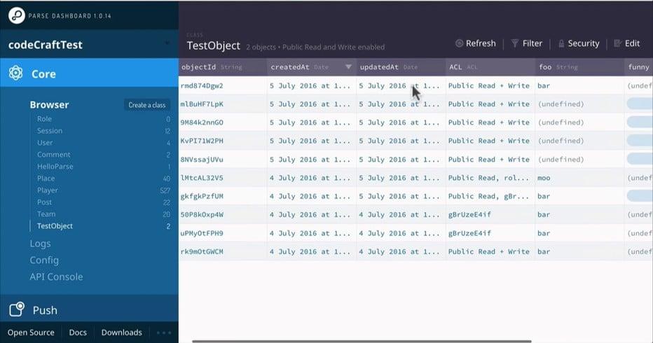 Parse Server Screenshot