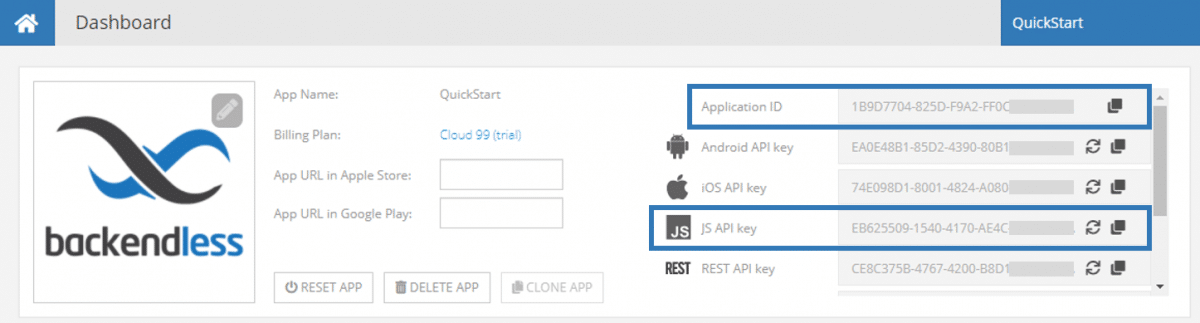 App ID and JS API Key