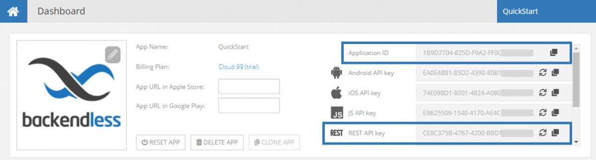 App ID and REST API Key