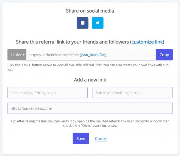 Add new affiliate link